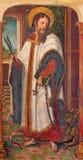 AVILA SPANIEN: Målarfärg av Kristus med det tveeggade svärdet efter apokalyps av St John i Catedral de Cristo Salvador Royaltyfria Foton