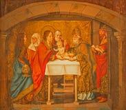AVILA SPANIEN: Målning av omskärelsen i templet från Catedral de Cristo Salvador av Maestro de Riofrio Arkivbild