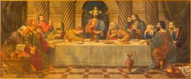 AVILA SPANIEN: Målningen för sista kvällsmål från 18 cent i kyrkliga Convento San Antonio av den okända konstnären Royaltyfria Foton