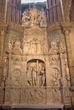 AVILA SPANIEN, 2016: Marmorskulpturen av flagellation av Kristus i sakristia av Catedral de Cristo Salvador Royaltyfri Foto