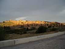 Avila, Spain, at sunset. View to Avila at sunset, Spain royalty free stock images