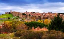 Avila with  town walls in autumn Stock Photos