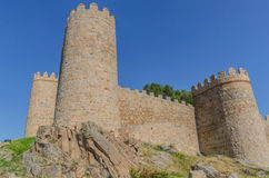 Avila wall detail towers Stock Photography