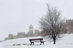 Avila wall in winter Stock Photo