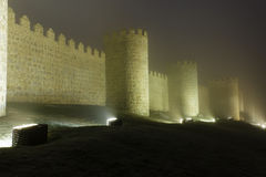 Avila walls at night Stock Image