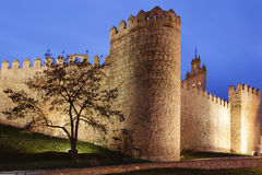 Avila walls at night Stock Photo