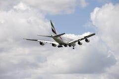 Avión de pasajeros de la cubierta del doble de Airbus A380 Fotografía de archivo