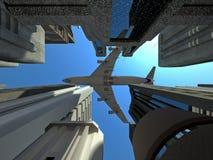 Avion à réaction au-dessus de la ville - 01 Image libre de droits