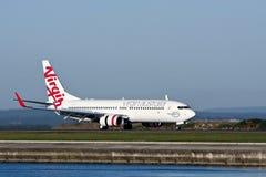 Avion à réaction de l'Australie Boeing 737 de Vierge Photos libres de droits