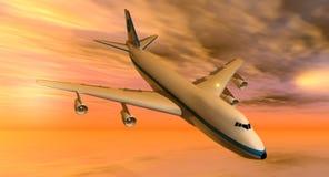 avion 747 au coucher du soleil Photo libre de droits