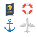 Avion anchor lifebuoy passeport Photo stock