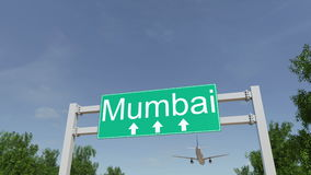 Avion arrivant à l'aéroport de Mumbai Déplacement au rendu 3D conceptuel d'Inde Image libre de droits