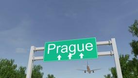 Avion arrivant à l'aéroport de Prague Déplacement au rendu 3D conceptuel de République Tchèque Images libres de droits