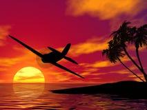 Avion au coucher du soleil illustration de vecteur