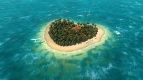 Avion au-dessus de l'île en forme de coeur illustration stock