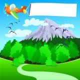 Avion avec le drapeau blanc, au-dessus de la montagne Image libre de droits