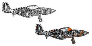 Avion avec le modèle ethnique de griffonnage Zentangle a inspiré le modèle pour d'anti pages de livre de coloriage d'effort pour  Image libre de droits