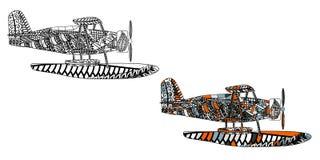 Avion avec le modèle ethnique de griffonnage Zentangle a inspiré le modèle pour d'anti pages de livre de coloriage d'effort pour  Photo libre de droits