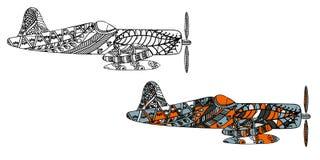 Avion avec le modèle ethnique de griffonnage Zentangle a inspiré le modèle pour d'anti pages de livre de coloriage d'effort pour  Photographie stock