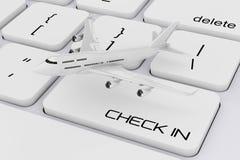 Avion blanc du ` s de Jet Passenger au-dessus de clavier d'ordinateur avec le contrôle Photographie stock libre de droits