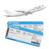Avion blanc du ` s de Jet Passenger avec le billet de carte d'embarquement de ligne aérienne Image libre de droits