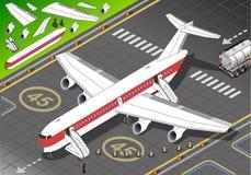 Avion blanc isométrique débarqué en Front View Photo stock