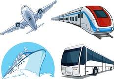 Avion, bus, bateau de croisière, et train Photographie stock libre de droits