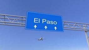 Avion commercial arrivant à l'aéroport d'El Paso Déplacement au rendu 3D conceptuel des Etats-Unis Photos stock