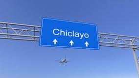 Avion commercial arrivant à l'aéroport de Chiclayo Déplacement au rendu 3D conceptuel du Pérou Photos libres de droits