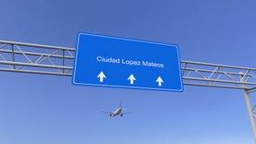 Avion commercial arrivant à l'aéroport de Ciudad Lopez Mateos Déplacement au rendu 3D conceptuel du Mexique Image stock