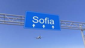 Avion commercial arrivant à l'aéroport de Sofia Déplacement au rendu 3D conceptuel de la Bulgarie Photo stock