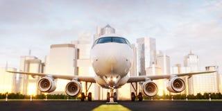 Avion commercial blanc se tenant sur la piste d'a?roport aux gratte-ciel d'une ville illustration de vecteur