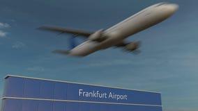 Avion commercial décollant au rendu 3D éditorial d'aéroport de Francfort Image stock