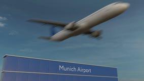 Avion commercial décollant au rendu 3D éditorial d'aéroport de Munich Photos stock