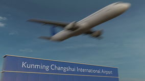Avion commercial décollant au rendu 3D éditorial d'aéroport international de Kunming Changshui Photos libres de droits