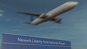 Avion commercial décollant au rendu de Newark Liberty International Airport Editorial 3D Photographie stock