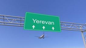 Avion commercial de moteur jumeau arrivant à l'aéroport d'Erevan Déplacement au rendu 3D conceptuel de l'Arménie illustration de vecteur