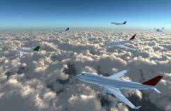 Avion complètement sur le ciel Photo stock