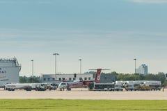 Avion d'AirBerlin s'embarquant à l'aéroport de Stuttgart Photographie stock