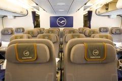 Avion d'Airbus A380 à l'intérieur des sièges Photo libre de droits