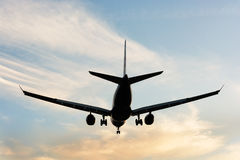 Avion d'atterrissage Vue arrière Photo libre de droits