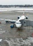 Avion d'Austrian Airlines dans l'aéroport de Boryspil Kiev, Ukraine Image stock