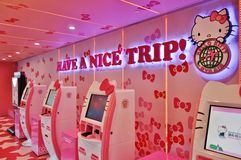 Avion d'Eva Air Hello Kitty Photos stock