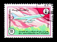 Avion d'Ilyushin Il-86, quarantième anniversaire de serie d'Ariana Airline, image stock
