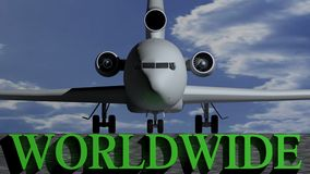 Avion dans le monde entier Photos stock