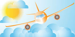 Avion dans les cieux Images libres de droits