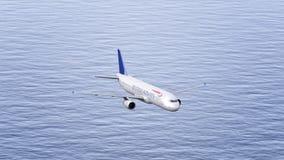 Avion de British Airways volant au-dessus de la mer Rendu conceptuel de l'éditorial 3D Photo libre de droits