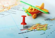 Avion de carte d'île de Majorque, Espagne Photo stock