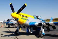 Avion de combat de mustang de P-51D sur l'affichage image libre de droits