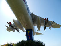 Avion de combattant de marine près d'une base en Californie Image stock